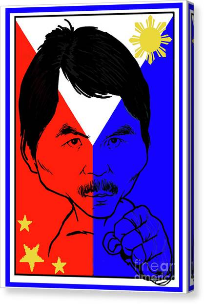 Manny Pacquiao Canvas Print - Manny Pacquiao Iron Fist by Stanley Slaughter Jr