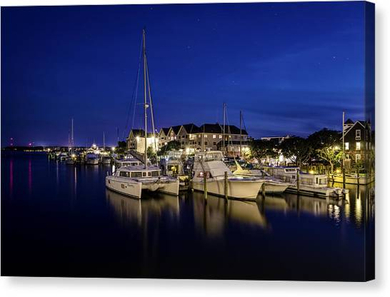 Manteo Waterfront Marina At Night Canvas Print