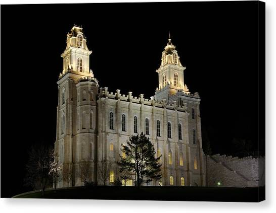 Manti Temple Night Canvas Print