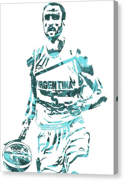 Spurs Canvas Print - Manu Ginobili Argentina Pixel Art by Joe Hamilton
