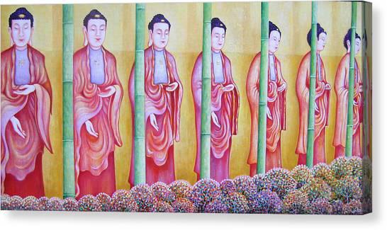 Many Budhas Canvas Print by Hiske Tas Bain