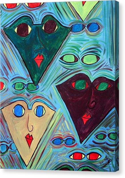 Many Faces Blue Canvas Print by Margie  Byrne