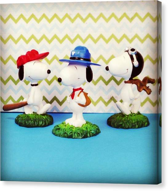Scouting Canvas Print - Many Lives Of Snoopy! #forsale #peanuts by Caren Pilgrim