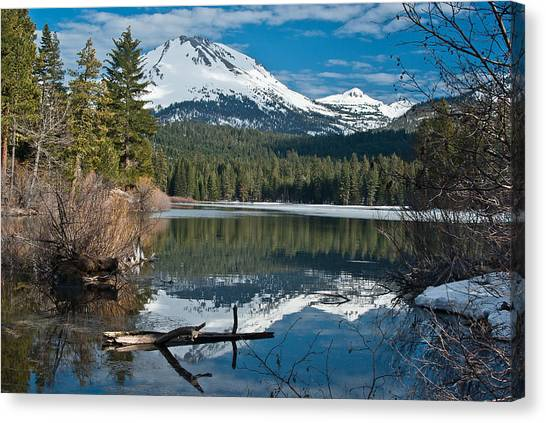 Manzanita Lake Reflects On Mount Lassen Canvas Print