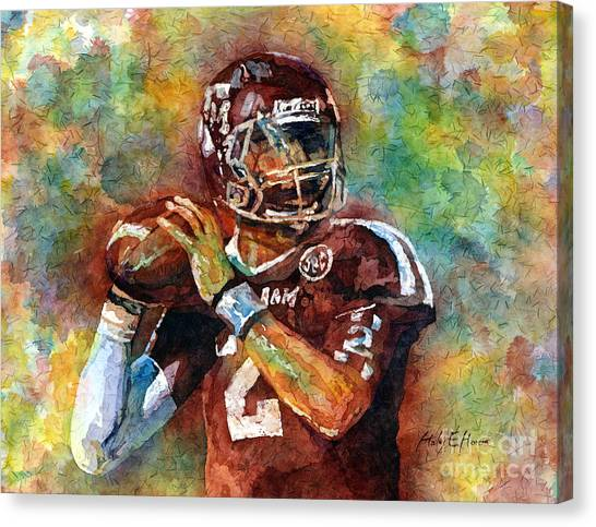 Football Canvas Print - Manziel by Hailey E Herrera