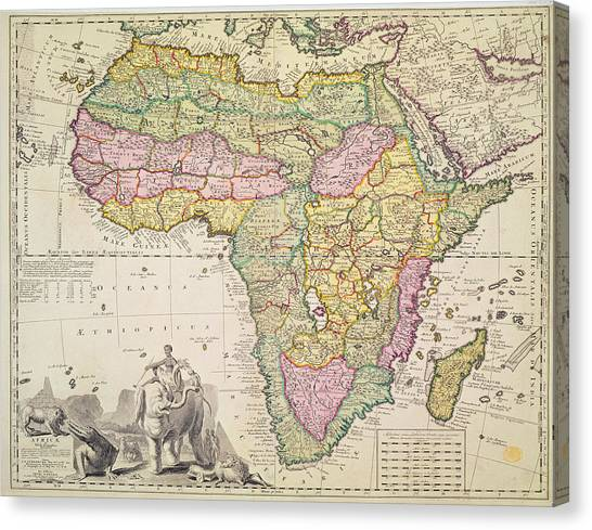 Atlantic Division Canvas Print - Map Of Africa by Pieter Schenk