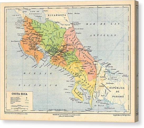 Atlantic Division Canvas Print - Map Of Costa Rica by Carambas Vintage