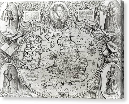 Queen Elizabeth Canvas Print - Map Of England During The Reign Of Queen Elizabeth I, 1590  by Jodocus Hondius