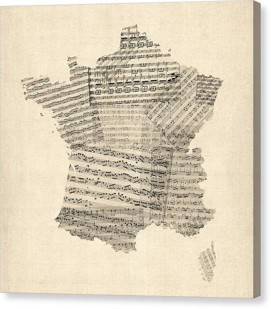French Canvas Print - Map Of France Old Sheet Music Map by Michael Tompsett
