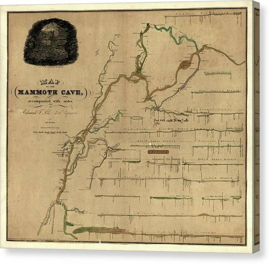 Mammoth Cave Canvas Print - Map Of Mammoth Cave 1835 by Andrew Fare
