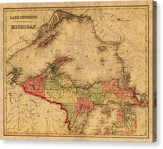 Distressed Canvas Print - Map Of Michigan Upper Peninsula And Lake Superior Vintage Circa 1873 On Worn Distressed Canvas  by Design Turnpike