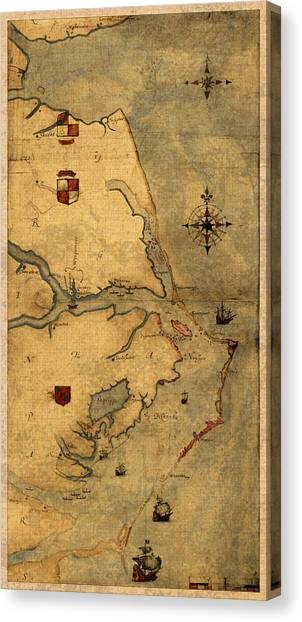 Waving Canvas Print - Map Of Outer Banks Vintage Coastal Handrawn Schematic On Parchment Circa 1585 by Design Turnpike