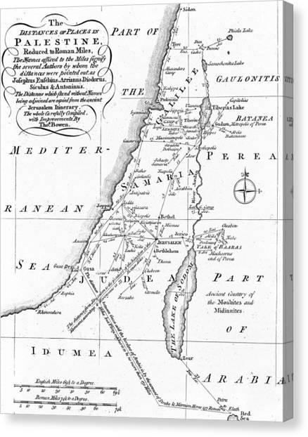 Palestinian Canvas Print - Map Of Palestine by English School