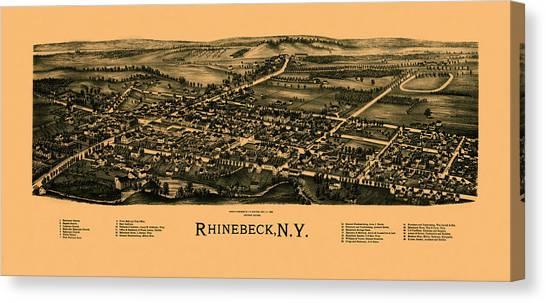 Map Of Rhinebeck 1890 Canvas Print