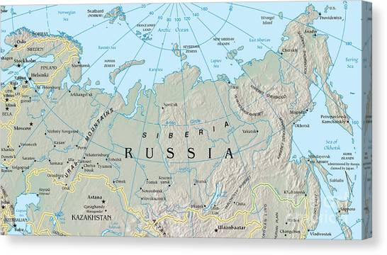 Ural Mountains Canvas Print - Map Of Siberia by Science Source