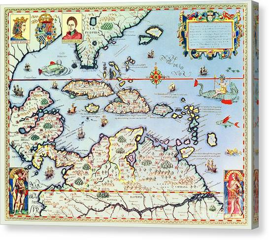 Celestial Canvas Print - Map Of The Caribbean Islands And The American State Of Florida  by Theodore de Bry