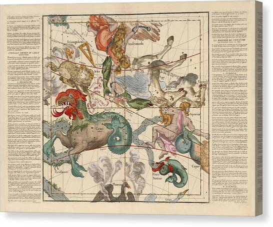 Pegasus Canvas Print - Map Of The Constellations Cetus, Pegasus, Aquarius, Andromeda - Celestial Map - Antique Map by Studio Grafiikka