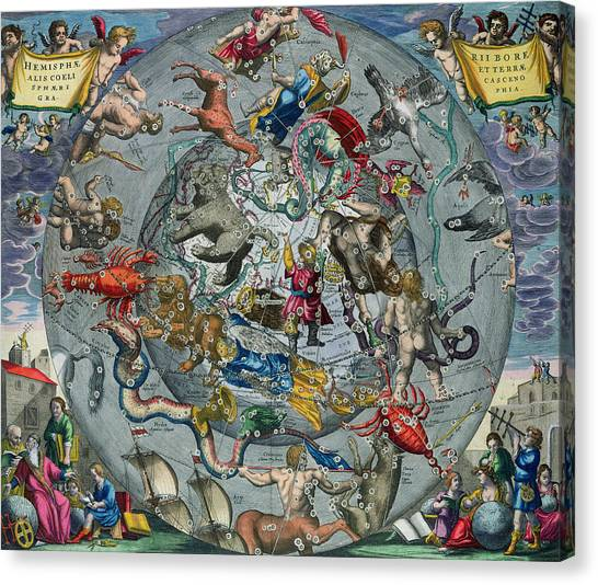 Celestial Canvas Print - Map Of The Constellations Of The Northern Hemisphere by Andreas Cellarius