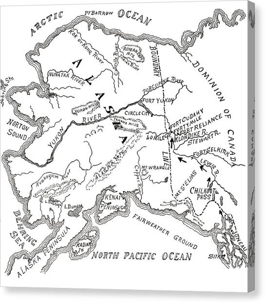 Alaska Map Canvas Prints Fine Art America