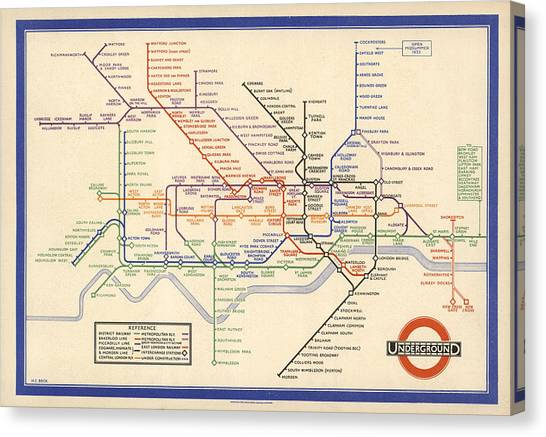 Map Of The London Underground - London Metro - 1933 - Historical Map Canvas Print