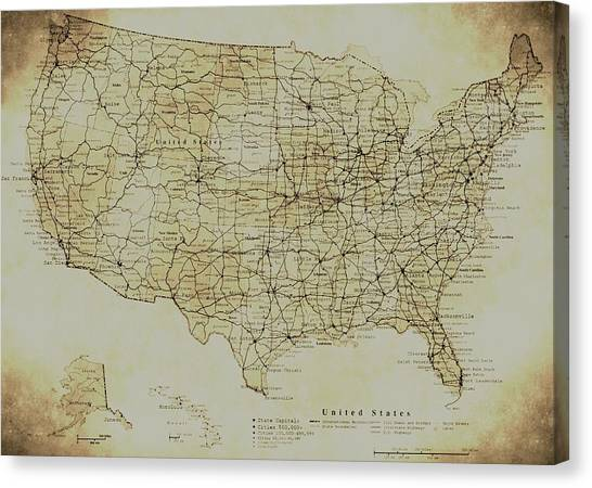 Map Of The United States In Digital Vintage Canvas Print