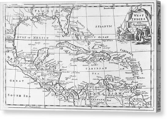 Terra Canvas Print - Map Of The West Indies Florida And South America by English School