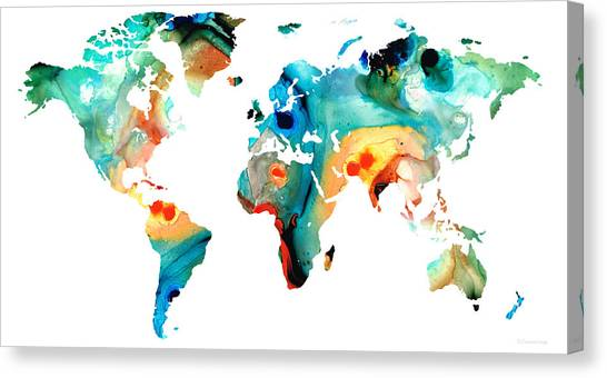 Map Canvas Print - Map Of The World 11 -colorful Abstract Art by Sharon Cummings