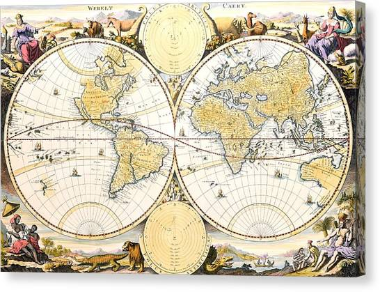 Celestial Globe Canvas Print - Map Of The World by Daniel Stoopendaal