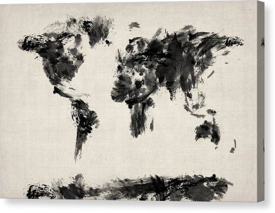 World map canvas prints fine art america world map canvas print map of the world map abstract by michael tompsett gumiabroncs Images