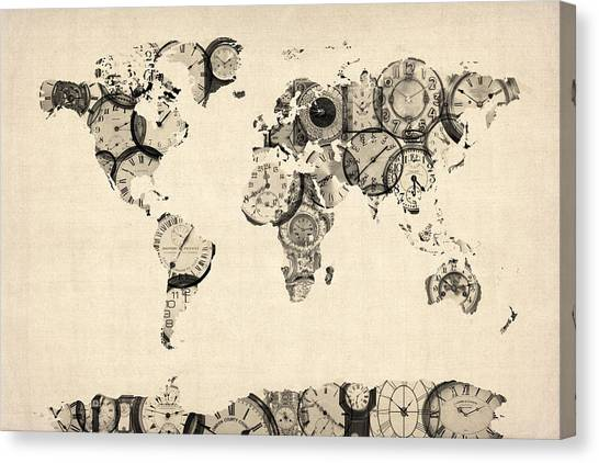 Map Canvas Print - Map Of The World Map From Old Clocks by Michael Tompsett