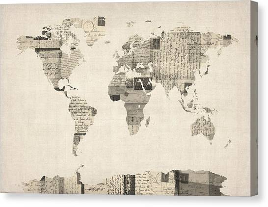 Postcards Canvas Print - Map Of The World Map From Old Postcards by Michael Tompsett