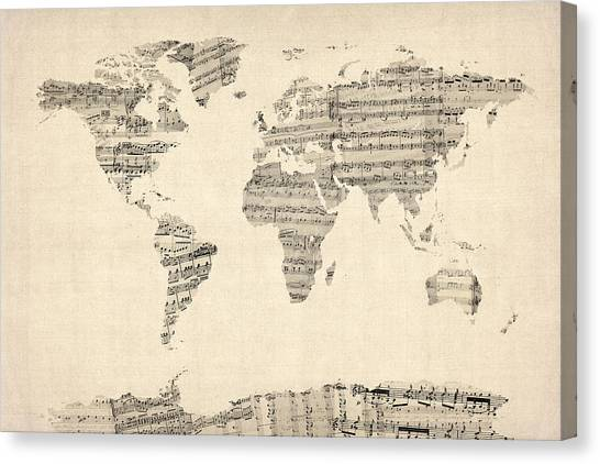 Map Canvas Print - Map Of The World Map From Old Sheet Music by Michael Tompsett