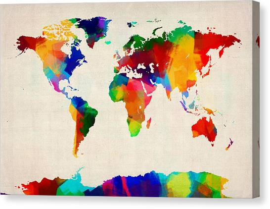 World Map Canvas Print - Map Of The World Map by Michael Tompsett