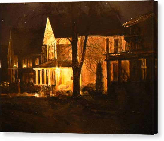 Maple Avenue Nocturne Canvas Print by Thomas Akers
