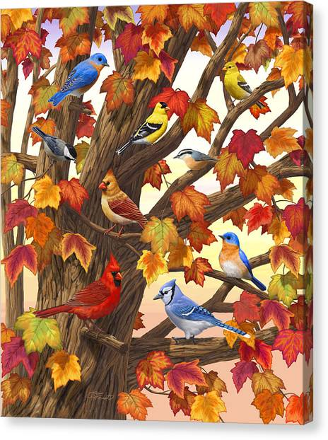 Finches Canvas Print - Maple Tree Marvel - Bird Painting by Crista Forest