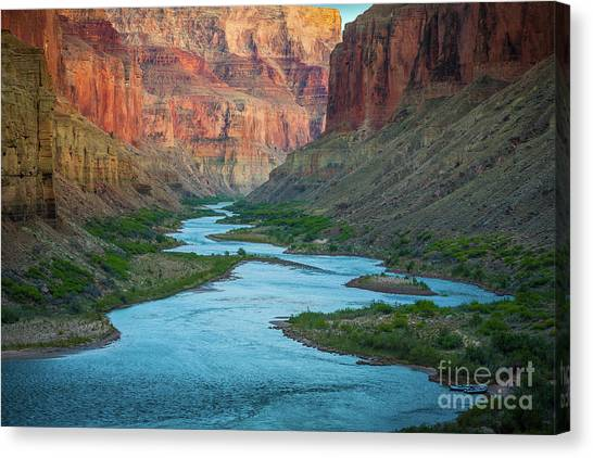 Colorado River Canvas Print - Marble Canyon Rafters by Inge Johnsson