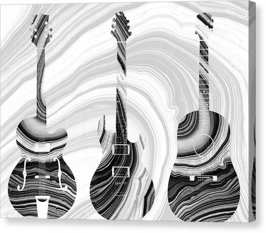 Black and white guitar canvas print marbled music art three guitars sharon cummings