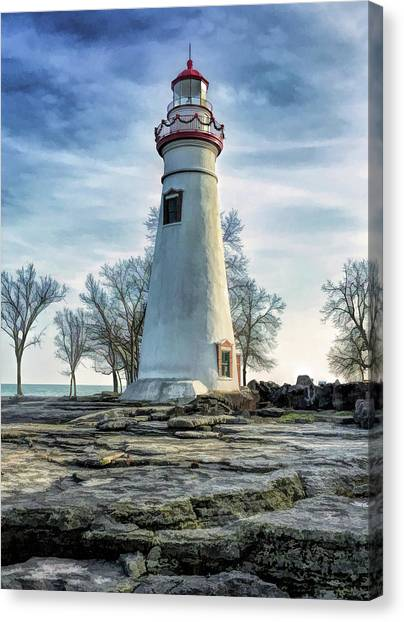 Canvas Print featuring the painting Marblehead Lighthouse by Christopher Arndt