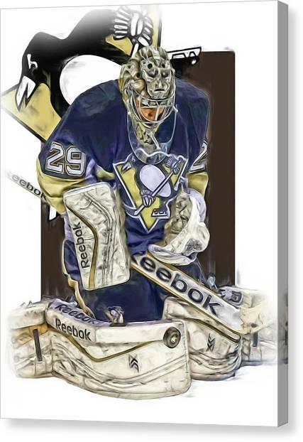 Pittsburgh Penguins Canvas Print - Marc Andre Fleury Pittsburgh Penguins Oil Art by Joe Hamilton