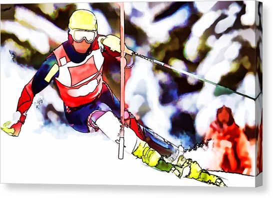 Freeriding Canvas Print - Marcel Hirscher Skiing by Lanjee Chee