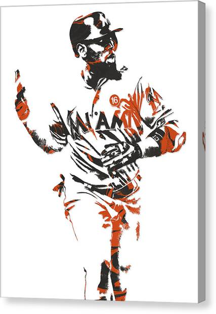 Miami Marlins Canvas Print - Marcell Ozuna Miami Marlins Pixel Art 2 by Joe Hamilton