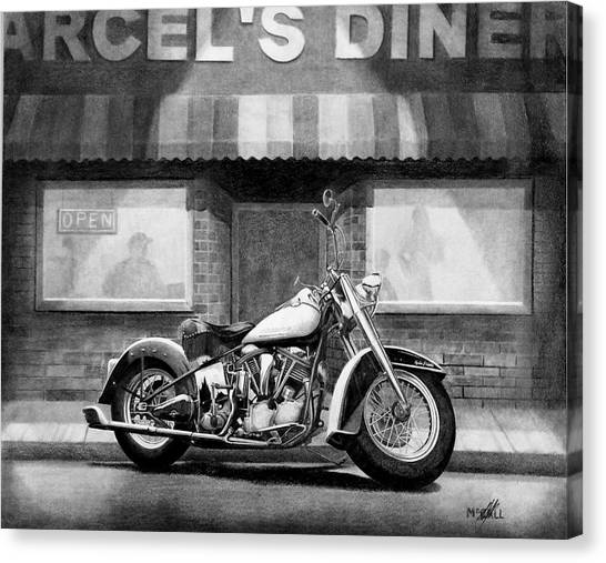 Pencil Drawing Motorcycle Canvas Print - Marcel's by Stephen McCall