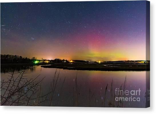 March 6 Aurora Over Scarborough Marsh  Canvas Print