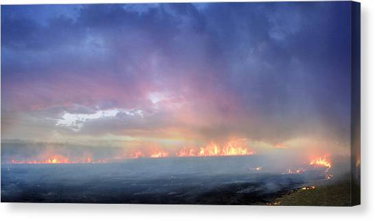 March Burning Of The Prairie Canvas Print