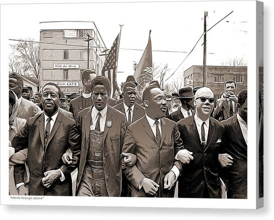 Rights Canvas Print - March Through Selma by Greg Joens