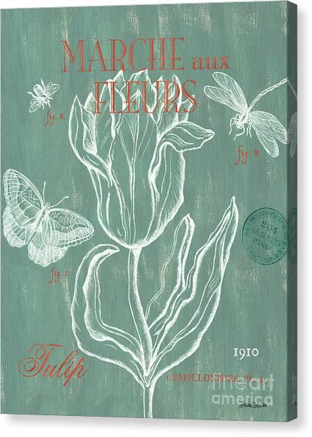 Pen And Ink Canvas Print - Marche Aux Fleurs by Debbie DeWitt