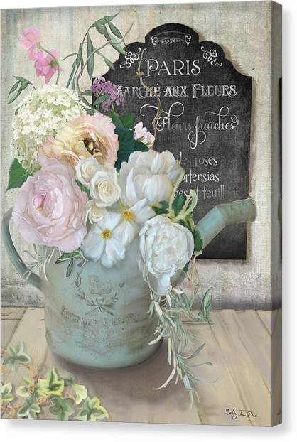 Marche Paris Fleur Vintage Watering Can With Peonies Canvas Print