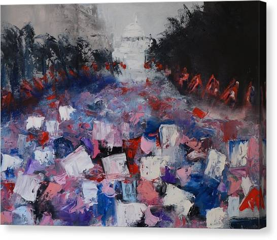 Womens Rights Canvas Print - Marching On by Sally Higgins
