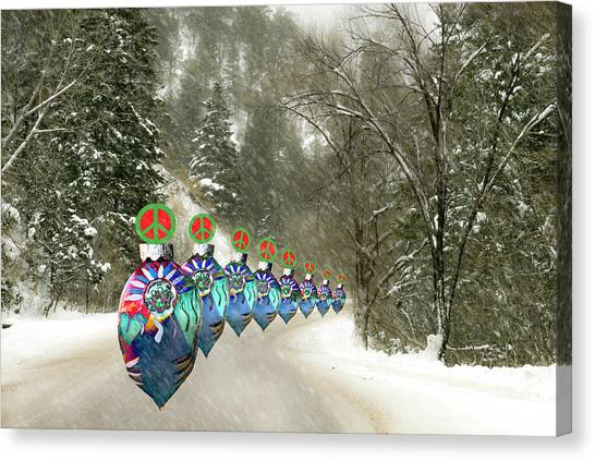 Canvas Print featuring the photograph Marching Peace Ornaments by Lou Novick