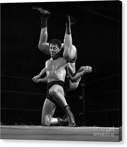 Polo Canvas Print - Marco Polo, A Wrestler Also Known As Ted Bell And Steve Karas, I by The Harrington Collection